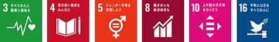 SDGs - 3 4 5 8 10 16